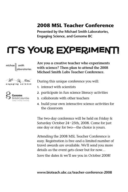 MSL Teacher Conference Flyer